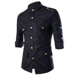 Multi Pocket Epaulette 3/4 Sleeve Dress Shirt