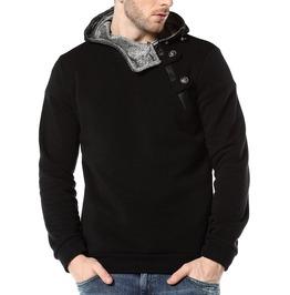 Assymetrical Zip Button Hoodie