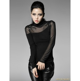 Women Black Gothic Bottoming Shirt With Spider Web On Shoulder T 320