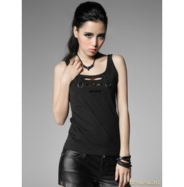 Black Gothic Punk Vest With Broken Hole For Women T 317