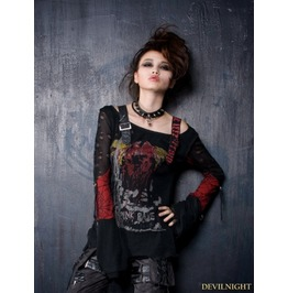 Black Red Gothic Punk Off Shoulder T Shirt For Women T 221 Rd