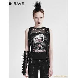 Black Gothic Punk Sleeveless Tank Top For Women T 212
