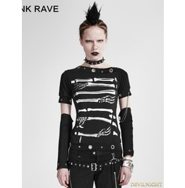 Black Gothic Punk Cool Summer T Shirt For Women T 178