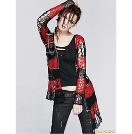 Women Black Red Stripe Gothic Punk Cardigan Sweather Coat M 004 Rd
