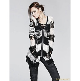 Women Black White Stripe Gothic Punk Cardigan Sweather Coat M 004 Wt