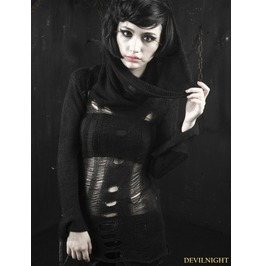 Black Gothic Hollow Hoodie Sweather For Women M 012 Fbk