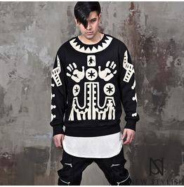 Indian Pattern Vibe Black Sweatshirts 635