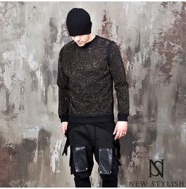 Gold Stud Accent Black Round Sweatshirts 634