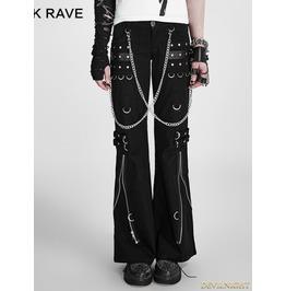 Fashion Punk Style Women' Black Bell Bottom Trousers Flared Pants K 028