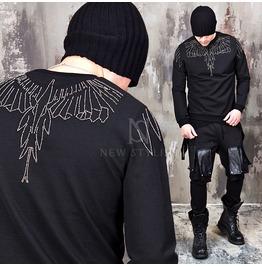 Studded Eagle Accent Black Round Sweatshirts 636
