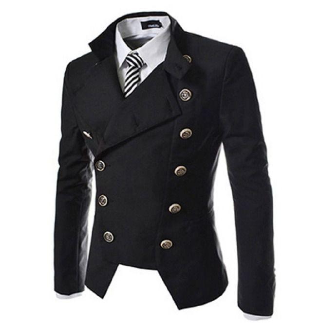 Gothic Vintage British Military Buttons Design Slim Fit Suit Blazer Men