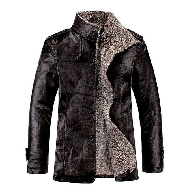 Mens Leather Stand Collar Slim Jacket Fit casual Warm Outwear Jacket Top Coat PU