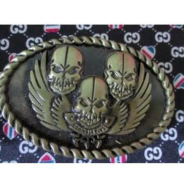 Belt Buckle 3 Skull Bronze