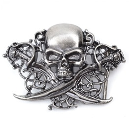 Cool Ass Cross Swords Pirates Skull Belt Buckle