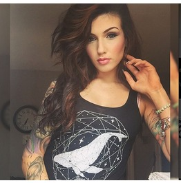 Sacred Geometry Space Whale Black Racer Back Tank Top