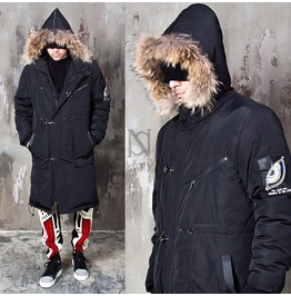 Raccoon Fur Hood Accent Black Down Long Parka 39