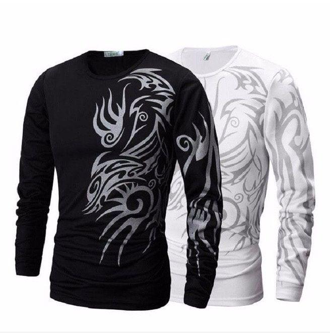 7a05a2c1 Tribal Tattoo Print Long Sleeve Slim Fit T Shirt | RebelsMarket
