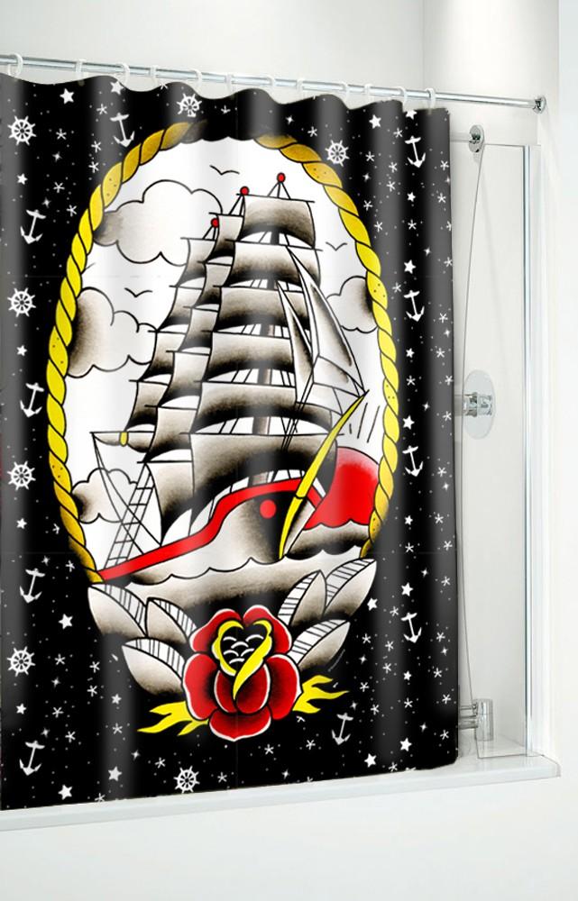 Sourpuss Clipper Ship Shower Curtain Soupcl103 133167