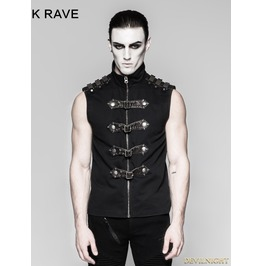 Black Gothic Punk Armour Sleeveless Shirt For Men Y 741
