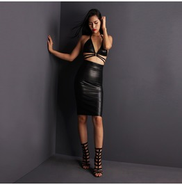 """Eros"" Faux Leather High Waist Pencil Skirt By Ange Déchu"