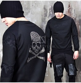 Camouflage Contrast Cubic Skull Back Black Round Sweatshirts 640