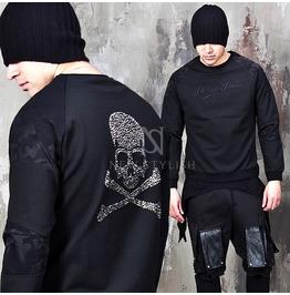 Camouflage Contrast Cubic Skull Back Black Round Sweatshirts 640