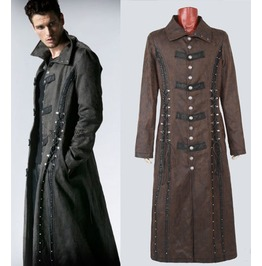 Mens Dark Gray Brown Gothic Long Steampunk Vampire Hunter Jacket Free Ship