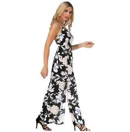 Women's Chiffon Floral Printed Backless Evening Party Beach Long Maxi Dress