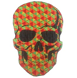 Skull Orange Skulls Patch Iron On Sew On Applique Motorcycle Bike Patches