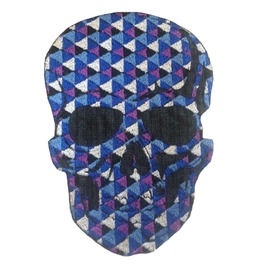 Blue Skulls Patch Iron On Sew On Applique Motorcycle Bike Patches