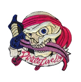 Pirate Patch Skull Iron On Patches Sew On Applique Biker's Motorcycle