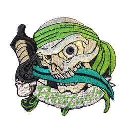 Green Pirate Patch Skull Iron On Patches Sew On Applique Biker's Motorcycle