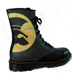Black Leather Trojan Records Logo Boots