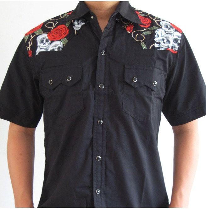 a3ff22098 Rockabilly Shirt Skull Roses Retro Vintage Hawaii   RebelsMarket