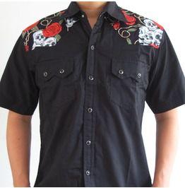 c272b3f1c6ef55 Rockabilly Shirt Skull Roses Retro Vintage Hawaii Psychobilly Rock N Roll