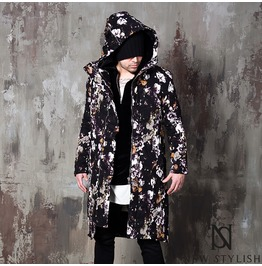 Flower Pattern Hooded Zip Up Long Coat 128