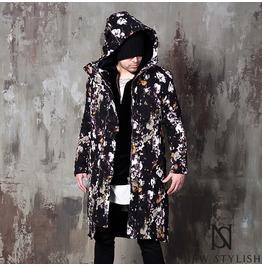 Flower Pattern Hooded Zip Up Long Coat 128