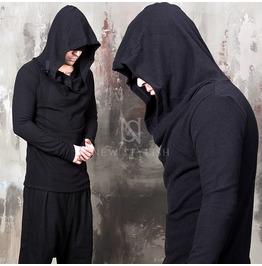 Adjustable Belted Hood Accent Black Turtle Neck Shirts 641