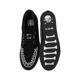 Tuk Black Suede White Stitch Creeper Sneaker Rockabilly Shoe