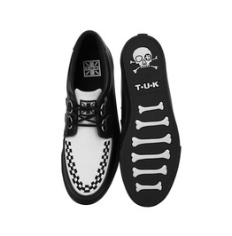 Tuk Black White Leather Creeper Sneaker Rockabilly 50s Shoe