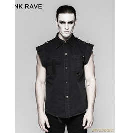 Black Gothic Punk Military Style Minimalist Flying Sleeve Shirt For Y 762 Mbk