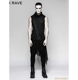 Black Gothic Small Stand Collar Heavy Punk Tassel Sleeveless Vest For T 473
