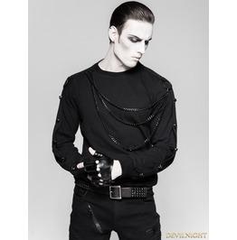 Black Gothic Military Uniform Heavy Punk Long Sleeve Shirt For Men T 469