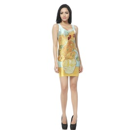 Yellow Floral Pattern Body Con Dress Tank Tops