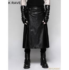 Black Gothic Punk Mens Simple Skirt With Waistbag Q 324