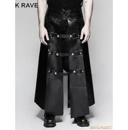 Black Gothic Punk Six Pieces Male Skirt For Men Q 318