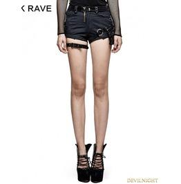 Spliced Dark Stripes Gothic Punk Shorts For Women K 275