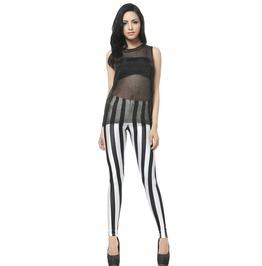 Black White Striped Leggings