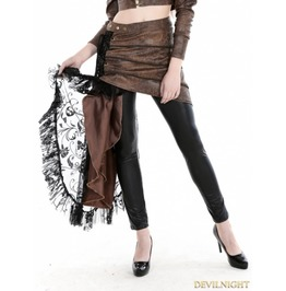 Coffee Steampunk Pu Skirt With Lace Side J040023