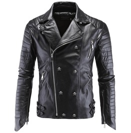 Mens Punk Black Pu Leather Stand Collar Skull Stud Motorcycle Jackets